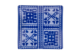 Porcelain Square Plate With Greek Folk Pattern