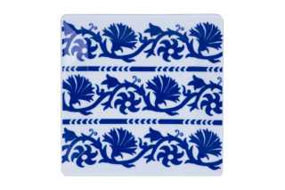 Porcelain Square Plate With Flower Pattern