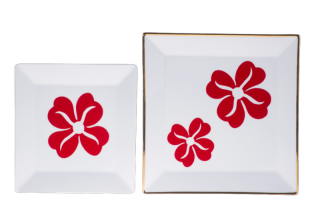 Two Sizes Porcelain Square Plates - Red Flower Pattern
