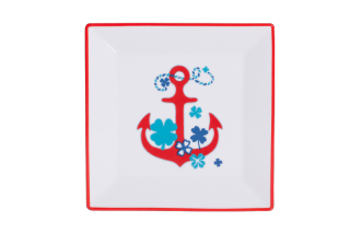 Porcelain Square Plate With Red Ξ'nchor
