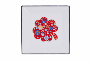 Porcelain Square Plate With Red Clover