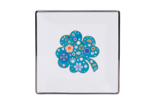 Porcelain Square Plate With Blue Clover