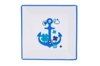 Porcelain Square Plate With Blue Ξ'nchor