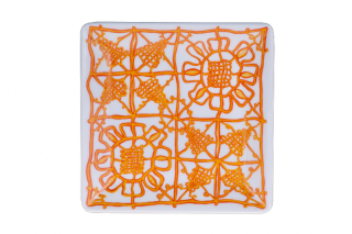 Porcelain Square Plate - Orange