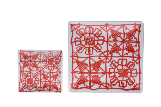 Two Sizes Porcelain Square Plates - Red Pattern